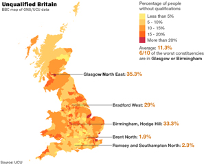Map showing qualification levels in the UK (via BBC)