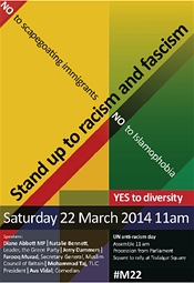Stand Up To Racism: rally, 22 March 2014