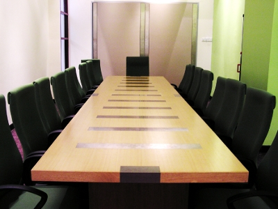 Empty meeting room table