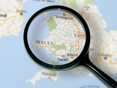 Wales map through a magnifying glass