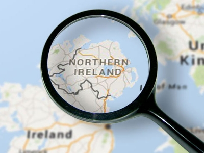 Northern Ireland map through a magnifying glass
