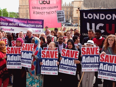 Protesting against the adult education funding cuts in England