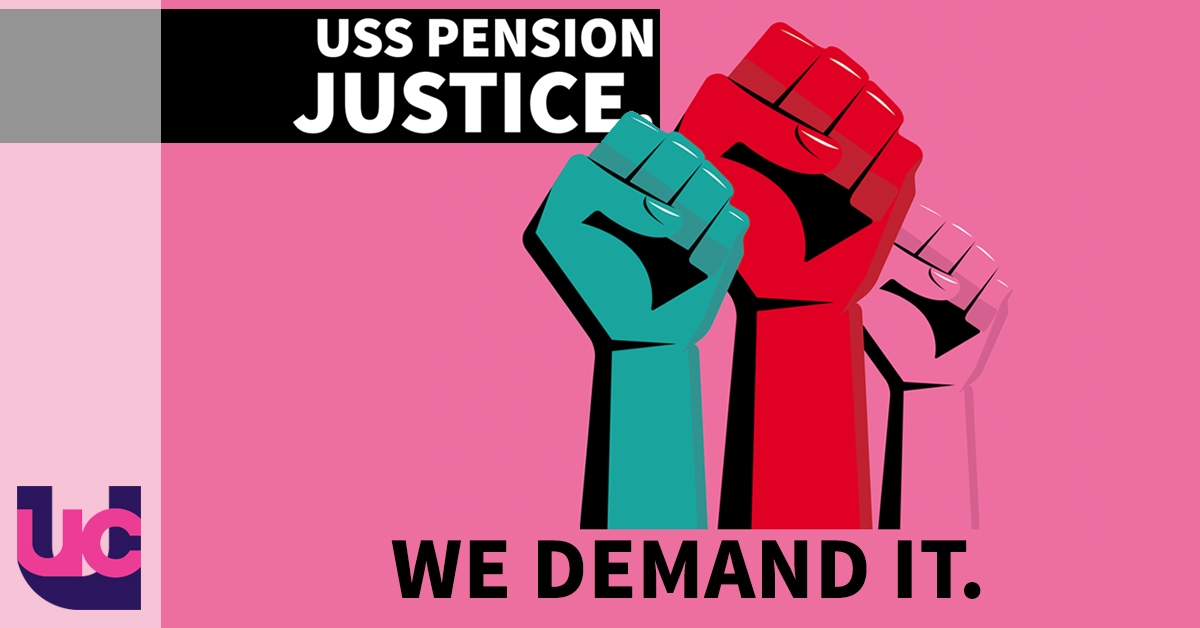 USS pension justice - we demand it: raised fists