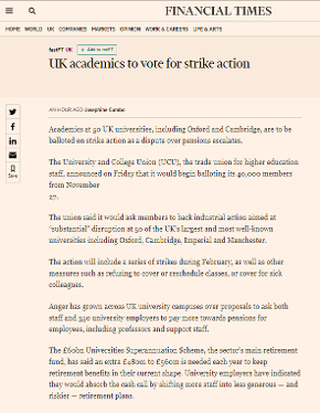 Financial Times: UK academics to vote for strike action, 17 Nov 17